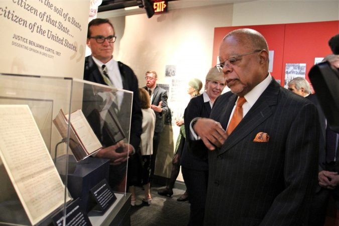 African American scholar Henry Louis Gates Jr. stops to look at Dred Scott's petition for freedom during the opening of the National Constitution Center's Civil War and Reconstruction exhibit. (Emma Lee/WHYY)