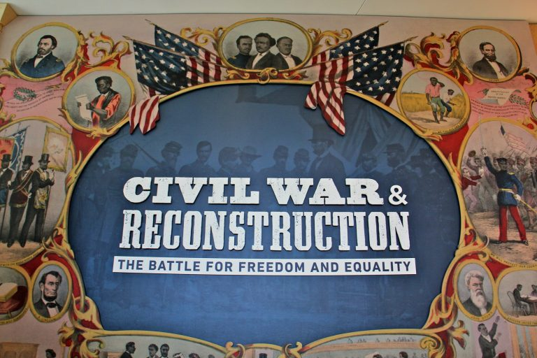 A new permanent exhibit at the National Constitution Center explores how constitutional clashes over slavery set the stage for the Civil War and how the nation transformed the Constitution after the war. (Emma Lee/WHYY)
