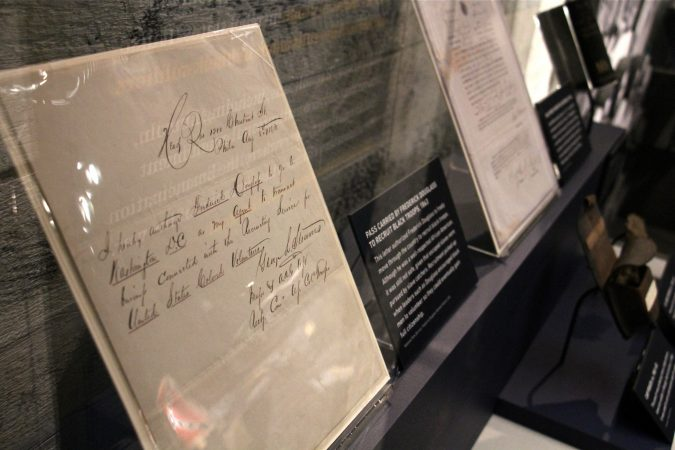 The pass carried by Frederick Douglass as he recruited black troops in 1863 was necessary in order for Douglass to move freely through the country. (Emma Lee/WHYY)