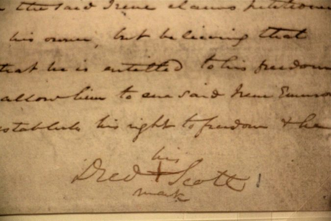 Dred Scott's petition for freedom (1846) was signed with an X because enslaved people were prohibited from learning to read or write. (Emma Lee/WHYY)