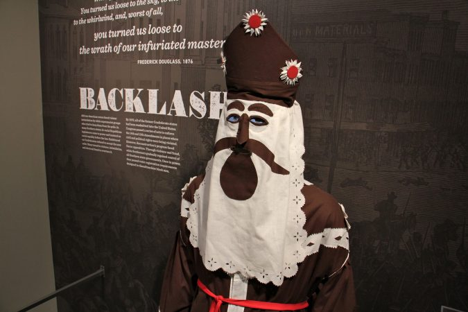 A Ku Klux Klan robe and hood, ca. 1866. Such costumes were used to terrorize African Americans as they fought for equality. (Emma Lee/WHYY)