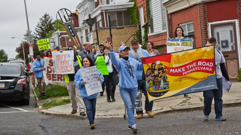 On May Day, about 30 people took to Rising Sun Avenue in the lower Northeast section of Philadelphia in support of workers' rights. (Kimberly Paynter/WHYY)