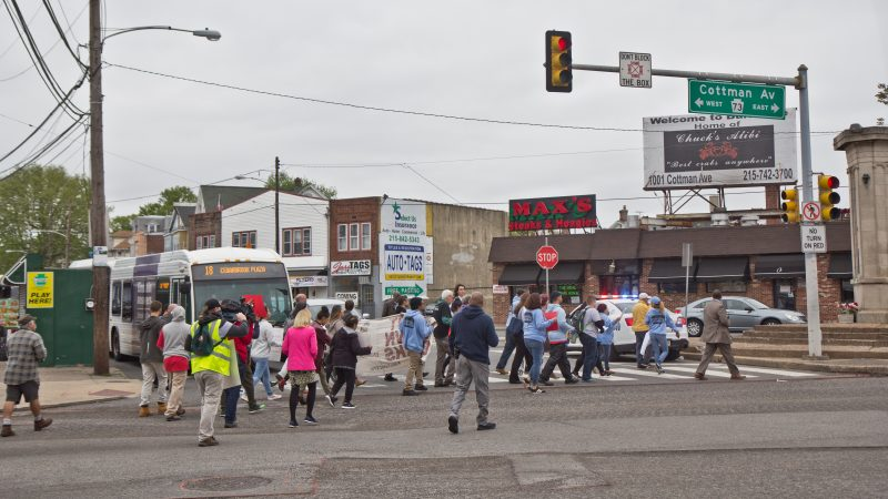 About 30 protesters from different organizations marched for workers' rights on May Day in the lower Northeast section of Philadelphia. (Kimberly Paynter/WHYY)