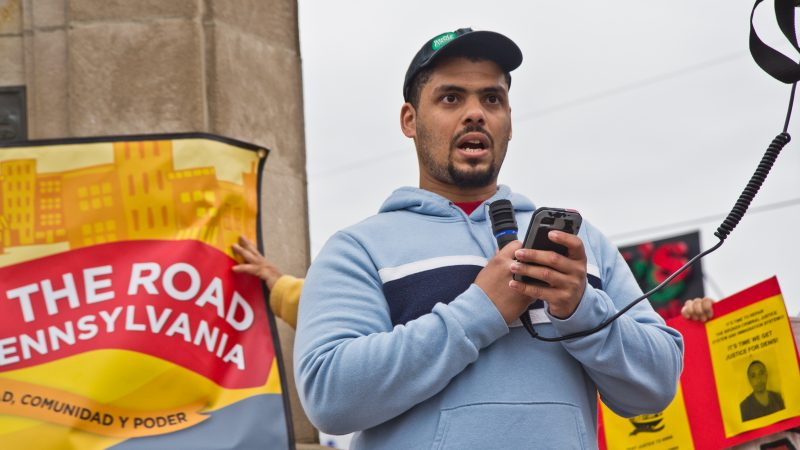 Rob Key, a Whole Foods employee, details the struggle workers face with scheduling. (Kimberly Paynter/WHYY)