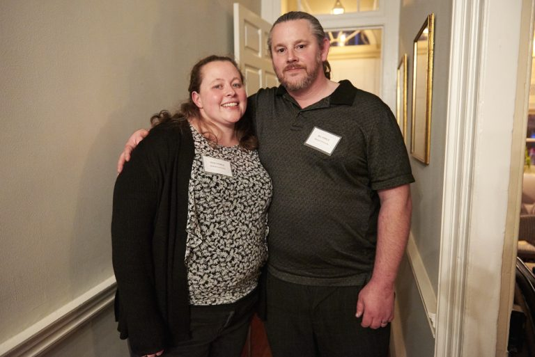 Trish and Bill Kinkle at a recent meeting for supporters of a plan to create a supervised injection site in Philadelphia. (Natalie Piserchio for WHYY)