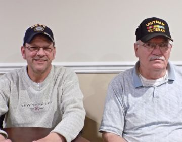 Vice Commander Don Minnick and Walt Davidson of the Jesse Soby American Legion Post 148 in Langhorne, Pa. (Ximena Conde/WHYY)
