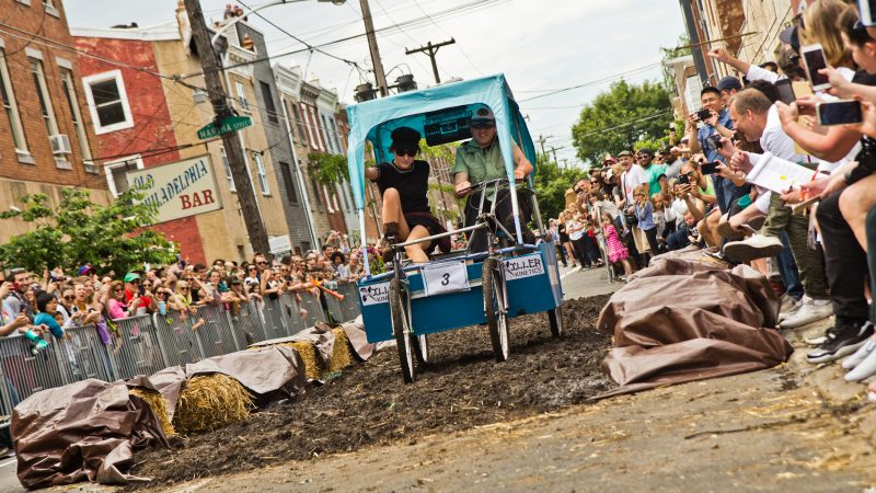 A successful ride through the mud at the 2019 Kensington Kinetic Sculpture Derby. (Kimberly Paynter/WHYY)