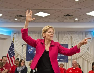 U.S. Sen. Elizabeth Warren, a 2020 presidential candidate, addresses teachers in Philadelphia on Monday afternoon. (Kimberly Paynter/WHYY)