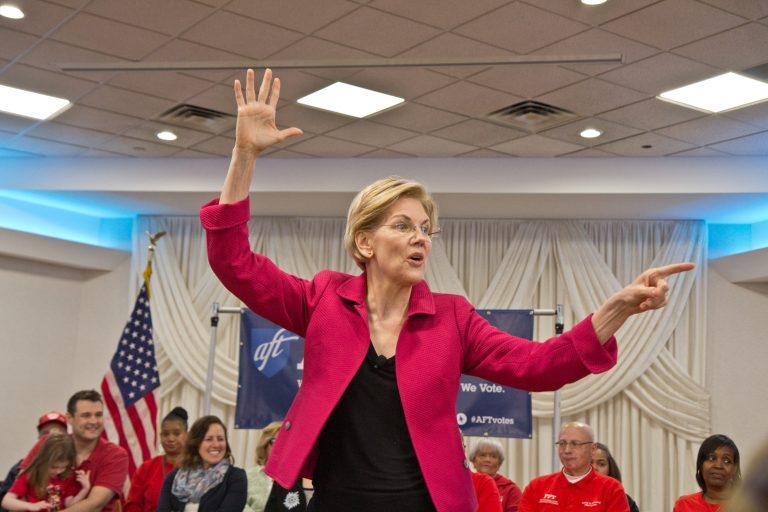 U.S. Sen. Elizabeth Warren, a 2020 presidential candidate, addresses teachers in Philadelphia on Monday, May 12. 2019. (Kimberly Paynter/WHYY)