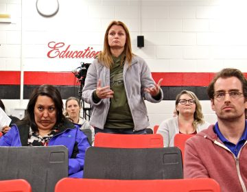 Cinnaminson parent Nicole Weick was one of five parents to express their concerns about teacher Joseph DeShan during a school board meeting on May 14, 2019. DeShan fathered the child of an underage girl 30 years ago when he was a Catholic priest. (Emma Lee/WHYY)