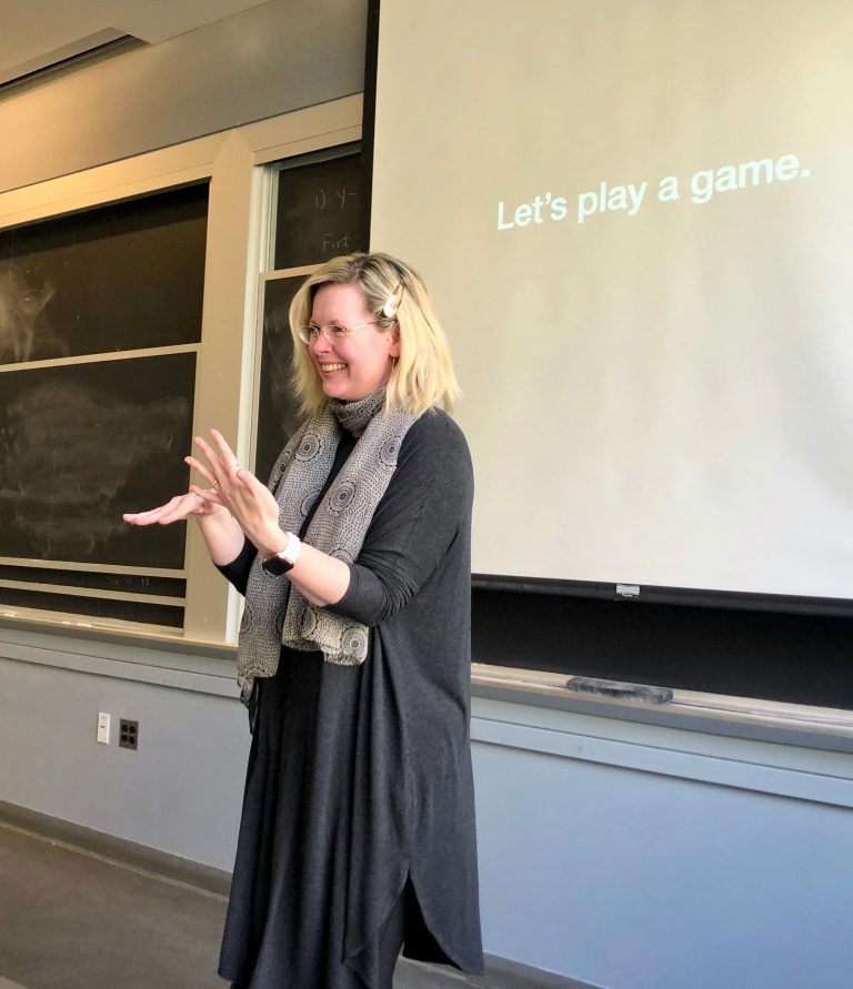Philosophy professor Abby Everett Jaques of the Massachusetts Institute of Technology created a class called Ethics of Technology to help future engineers and computer scientists understand the pitfalls of tech. (Courtesy of Kim Martineau, MIT Quest for Intelligence)