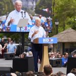 Former Vice President Joe Biden held his presidential kickoff campaign rally at Eakins Oval in Philadelphia, PA. An estimated 6,000 people attended. (Natalie Piserchio for WHYY)