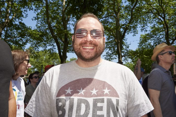 Brian Hart of Philadelphia attends Former Vice President Joe Biden held his presidential kickoff campaign rally at Eakins Oval in Philadelphia, Pa. (Natalie Piserchio for WHYY)