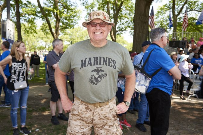 Dennis Pfeil, 72, of South Jersey, attends Former Vice President Joe Biden presidential kickoff campaign rally at Eakins Oval in Philadelphia, Pa. Biden served in the Marines from 1966 to 1970 and thinks that Biden can bring unity to our country. (Natalie Piserchio for WHYY)