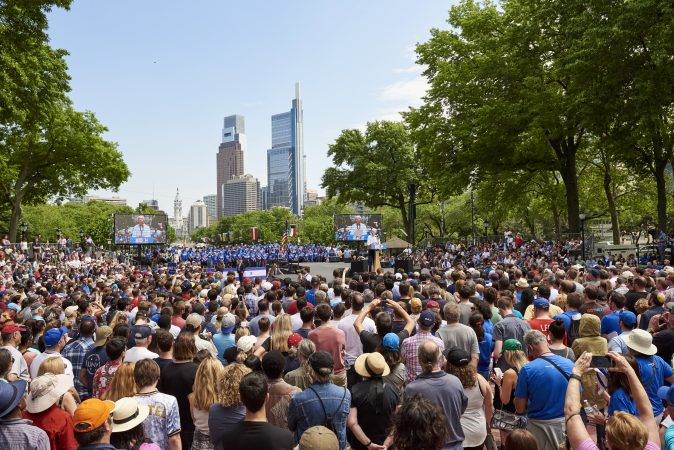 Former Vice President Joe Biden speaks at Biden's presidential kickoff rally in Philadelphia. An estimated 6,000 attendees gathered at Eakins Oval. (Natalie Piserchio for WHYY)