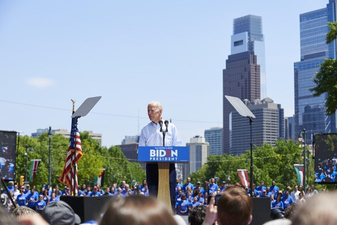 Former Vice President Joe Biden during his presidential kickoff campaign rally at Eakins Oval in Philadelphia, Pa. An estimated 6,000 people were in attendance. (Natalie Piserchio for WHYY)