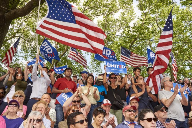 Former Vice President Joe Biden held his kickoff rally in Philadelphia. An estimated 6,000 attendees gathered at Eakins Oval to watch him speak. (Natalie Piserchio for WHYY)