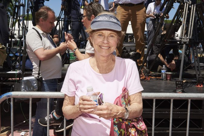 Mary Hurtig of West Philadelphia, attends Former Vice President Joe Biden's presidential kickoff campaign rally at Eakins Oval in Philadelphia, Pa. Although Hurtig is an undecided voter in the 2020 presidential election. (Natalie Piserchio for WHYY)