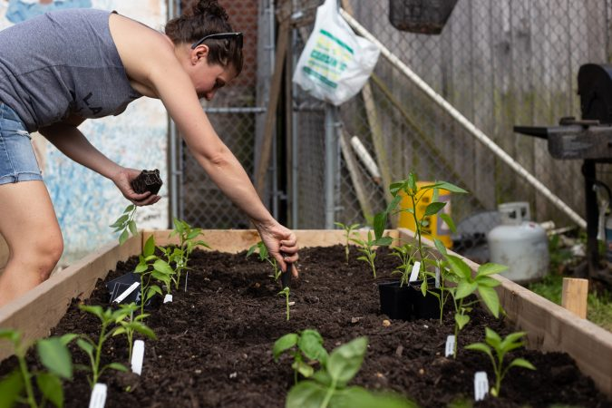 After months of organizing, volunteer Jessica Noon plants at Garden Esquina. (Angela Gervasi for WHYY)