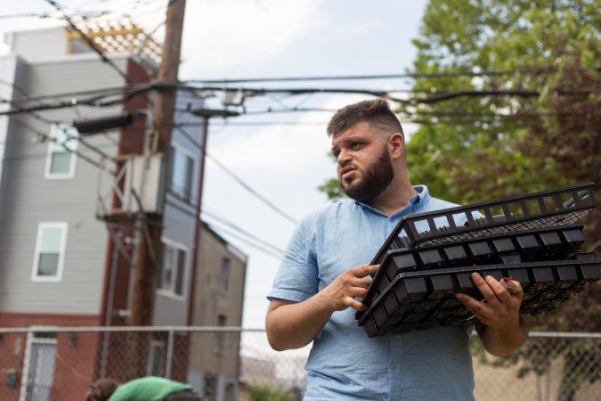 Jose Gonzalez has volunteered to establish Garden Esquina, showing up to work days starting last August. (Angela Gervasi for WHYY)