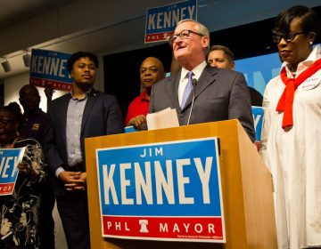 Philadelphia Mayor Jim Kenney thanks his supporters on stage Tuesday evening after winning the 2019 Democratic primary. (Kimberly Paynter/WHYY)