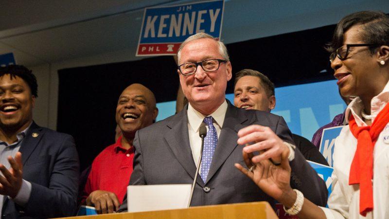 Philadelphia Mayor Jim Kenney joyfully thanks supporters at his primary victory party. (Kimberly Paynter/WHYY)