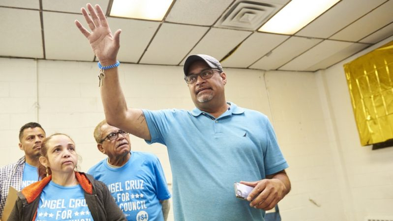 Pennsylvania state Rep Angel Cruz speaks at the Juniata Park Boys and Girls Club after the 2019 Philadelphia Primary election results come in. (Natalie Piserchio for WHYY)