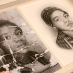 A photo of an unidentified young African American woman is deeply creased as if it were folded and carried around by someone  who valued it. It is part of an exhibit at the Library Company of Philadelphia called