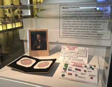 An exhibit at the Science History Institute highlights the accomplishments of scientists with disabilities. The chemist John Dalton, pictured below, noticed his inability to distinguish between red and green and created a color blindness test. (Steph Yin/WHYY)