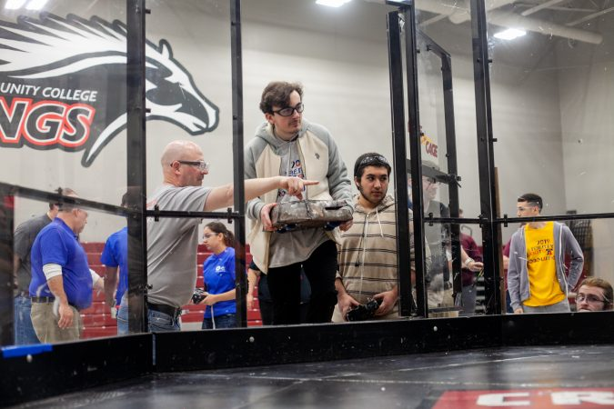 The team from Quakertown High School bring their robot in to the