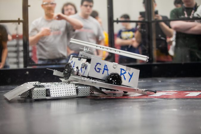 Gary, a robot fielded by students from Trenton High School and Mcnasty, a robot made by MaST Community Charter School competed in the Liberty Bots competition Saturday. (Brad Larrison for WHYY)