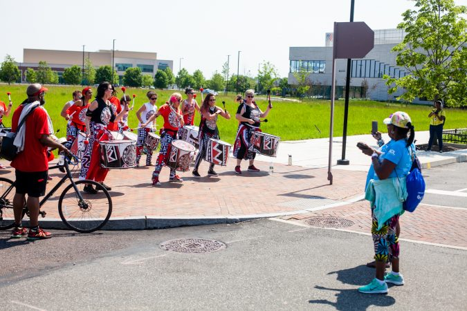 Members of the Afro-Brazilian band Batalá perform at the Navy Yard during the Anti-Defamation League's Walk Against Hate (Brad Larrison for WHYY)