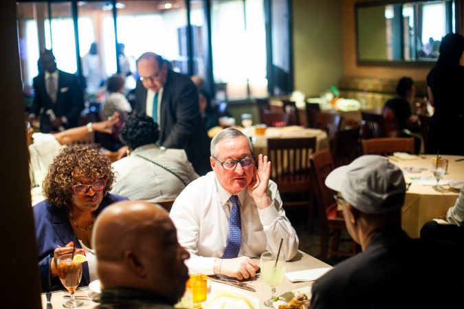 Incumbent Philadelphia Mayor Jim Kenney is pictured at Relish Tuesday afternoon during the 2019 primary election. (Brad Larrison for WHYY)