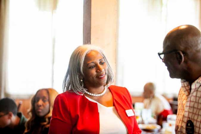 Ethelind Baylor, Democratic Candidate for City Council at-large, is pictured at Relish on Tuesday afternoon during the 2019 primary election. (Brad Larrison for WHYY)