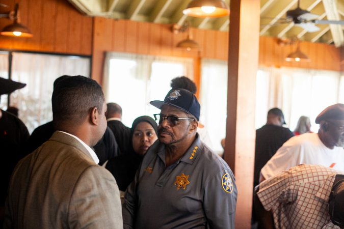 Incumbent Philadelphia Sheriff Jewell Williams is pictured at Relish Tuesday afternoon during the 2019 primary election. (Brad Larrison for WHYY)