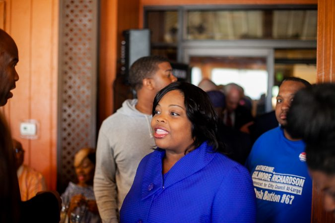 Katherine Gilmore Richardson, a Democratic candidate for City Council At-Large, is pictured at Relish Tuesday afternoon during the 2019 primary election. (Brad Larrison for WHYY)
