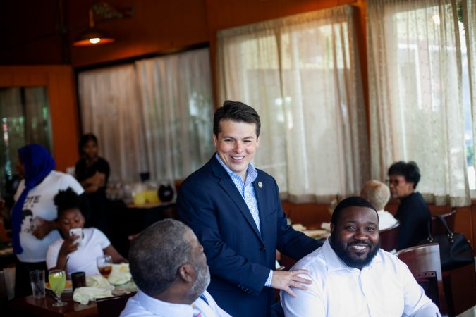 U.S. Congressman Brendan Boyle made the rounds at Relish Tuesday afternoon during the 2019 primary election. (Brad Larrison for WHYY)