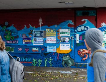 Signs plaster the wall outside of Fishtown Recreation Center as voters pass by to cast their ballots in the 2019 primary election. (Brad Larrison for WHYY)