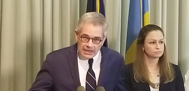 Philadelphia District Attorney Larry Krasner announces that police now have leads in more than 65 sex assault cases. (Tom MacDonald/WHYY)