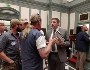 A hearing at the Delaware State Capitol over three gun-control bills attracted a large turnout on Wednesday. (Zoë Read/WHYY)