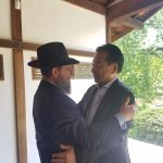 Rabbi Yossey Goldman and Nobuki Sugihara at Shofuso at the Japanese House in Philadelphia's Fairmount Park (Peter Crimmins/WHYY)