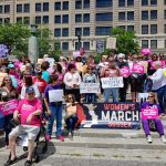 Delaware supporters of abortion rights rallied against restrictions passed in other states. (Zoë Read/WHYY)