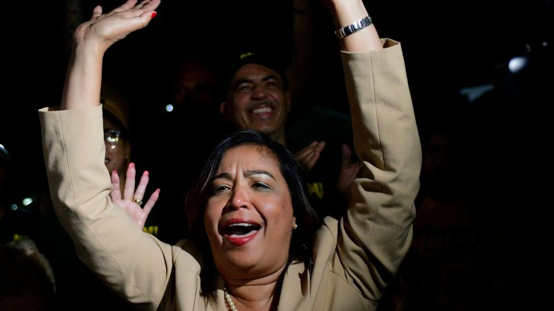 Maria Quiñones-Sanchez arrives at her victory party as she beats state Rep. Ángel Cruz in the race for the 7th Councilmanic district. (Bastiaan Slabbers for WHYY)