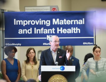 Governor Phil Murphy signs legislation on maternal health joined by First Lady Tammy Murphy, legislators, Newark mayor Was Baraka, and community leaders at University hospital on Wednesday May 8, 2019. (Courtesy of Edwin J. Torres/Governor's Office)