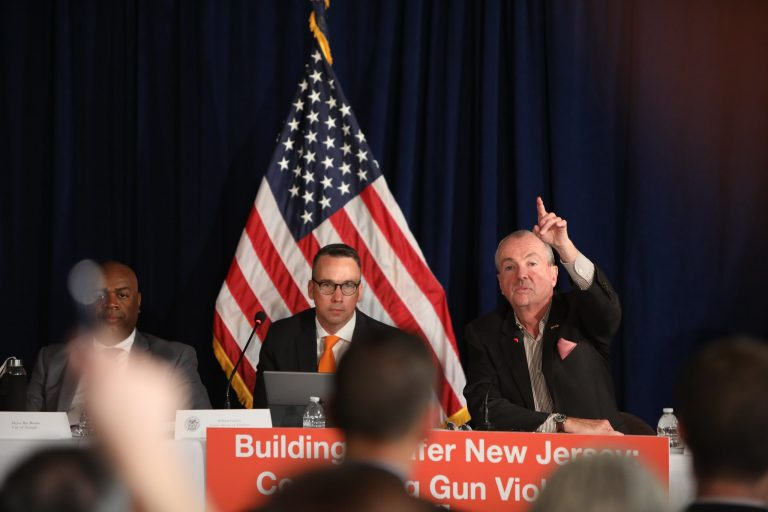 New Jersey Governor Phil Murphy, Lt. Gov. Sheila Oliver, and mayors from across the state discuss gun violence prevention on May 28, 2019 in Trenton. (Edwin J. Torres/ Governor's Office)