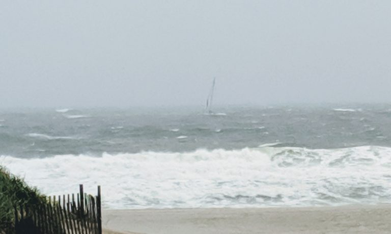 A sailboat appeared to be in distress off the Bradley Beach, New Jersey shoreline late Sunday morning. (Courtesy of Bud McCormick)