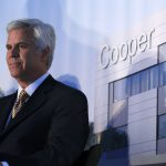 Cooper University Hospital board chairman George Norcross III listens in Camden, N.J., Tuesday, May 15, 2012, during a groundbreaking ceremony for the Cooper Cancer Institute. (Mel Evans/AP Photo)