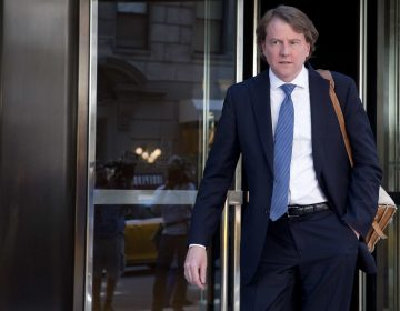 Attorney Donald McGahn leaves the Four Seasons hotel in New York, Thursday, June 9, 2016, after a GOP fundraiser. (Mary Altaffer/AP Photo)