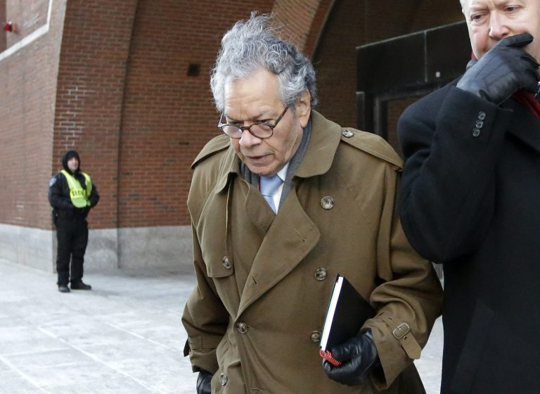 Insys Therapeutics founder John Kapoor departs federal court in Boston, Wednesday, Jan. 30, 2019. A former pharmaceutical executive accused of joining in a scheme to bribe doctors into prescribing a powerful painkiller once gave a lap dance to a doctor the company was pressuring to get his patients on the drug, her onetime colleague said Tuesday. (Steven Senne/AP Photo)