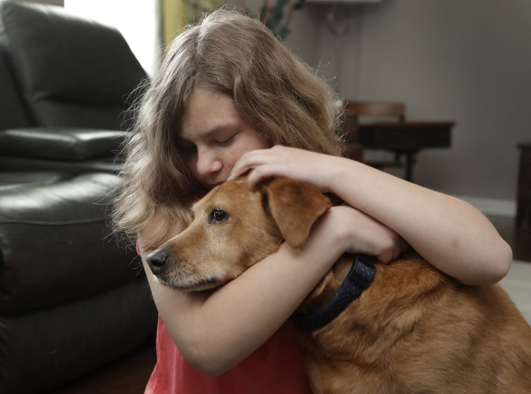 Sobie Cummings, 11, plays with her dog, Dallas, at the family's home in Waxhaw, N.C., Friday, March 29, 2019. A psychiatrist suggested that a service dog might help to ease Sobie's crippling anxiety and feelings of isolation. But when they brought home a $14,500 Briard from Mark Mathis' Ry-Con Service Dogs, Okami broke from Glenn Cummings' grasp and began mauling Dallas. (Chuck Burton/AP Photo)